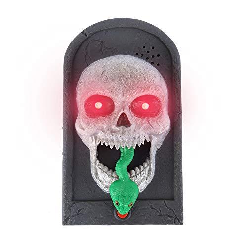 Türklingel Tür Halloween Deko Skelett- / Hexengesicht mit leuchtenden Augen und Kunstschlange- / Kunstspinne-Ausspucken Haus Dekoration für Trick Karneval Party (Skelett)