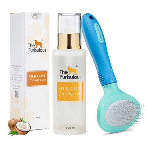 TheFurbulous Silk Coat Tierhaar Pflege Set mit einem Pflegemittel aus Kokosöl & gratis Haarbürste - Hilft gegen Zecken Verfilzung & Haarausfall - Sorgt für gesund...
