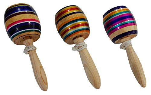 Multi-Colored Wood Balero Mexican Toy - Assorted Colors - 3 Pack