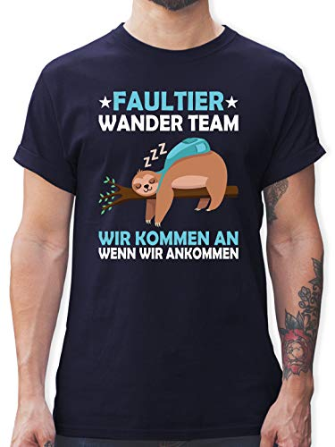 Sprüche - Faultier Wander Team - XXL - Navy Blau - Shirt männer wandern - L190 - Tshirt Herren und Männer T-Shirts