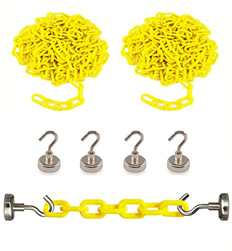Reliabe1st 2PCS 13 Feet Yellow Plastic Safety Barrier Chain with 4 Magnetic Hooks | Loading Dock Kit | Caution Security Chain Safety Chain for Crowd Control, Construction Site | Safety Barrier