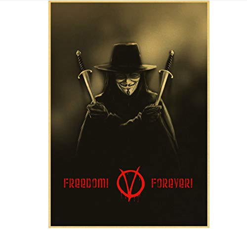 Mengyun Store Película De Suspenso Estadounidense De Ciencia Ficción V para Vendetta Retro Póster Cuadro Lienzo Pintura Sin Marco Pintura Arte De La Pared Mural Hj373 (50X70Cm)