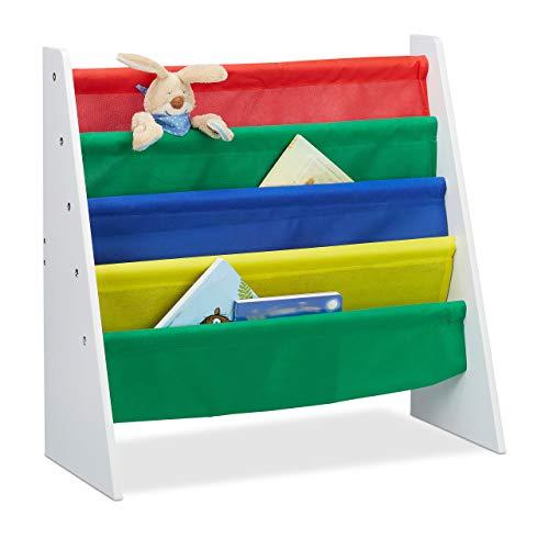 Relaxdays, Mehrfarbig Bücherregal für Kinder, Aufbewahrungsregal, Spielzeugregal, aus MDF+Polyester, mit 4 Stofffächern, Standard