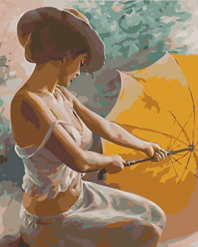 wnuia Pintura al óleo Linda Mujer con Paraguas 40X50CM (Enmarcado) Principiante Pintura al óleo con númerosDIY Pintura por Kits de números sobre Lienzo Pintado a Mano