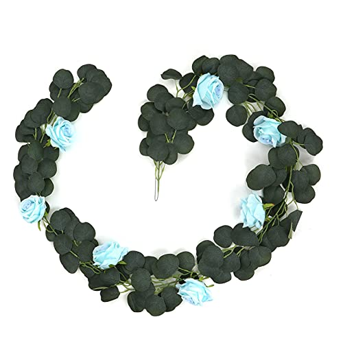 Vines de flores, flexible, guirnalda de flores de rosas falsas y realistas para celebraciones, tiendas, bodas, fiestas, vallas(azul)