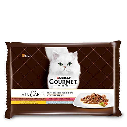 Purina GOURMET a la Carte Raffinessen des Küchenchefs Katzenfutter, Sardine, Ente, Geflügel, Forelle, 48er Pack (12 x 4 x 85 g beutel)