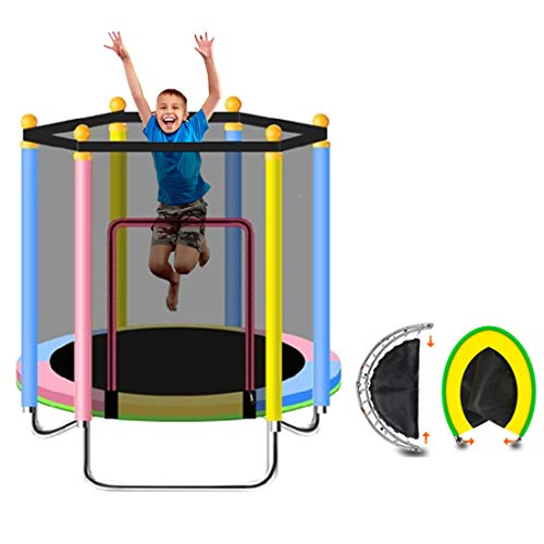 WQYRLJ Kids Trampoline with Enclosure, 47' Foldable Toddler Mini Toddler Trampoline, W/Enclosure Net And Safety Pad/for Indoor Outdoor Kids Safety Jump Sports Toys,color