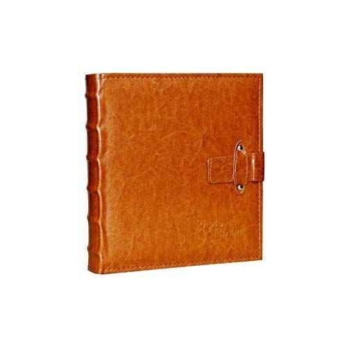 ASDWA Juego de álbumes de Fotos de Cuero de 7 Pulgadas, 200 Hojas, Estilo Retro, Regalo Creativo con Barra de Notas, marrón y marrón Rojizo 27x25x5.5cm (Color: Brown)