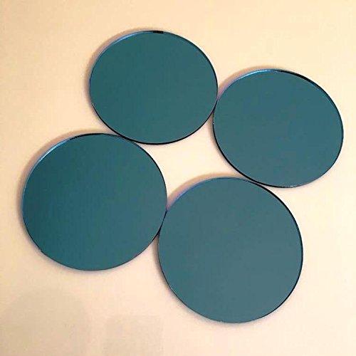 Super Cool Creations Runde Fliesen von, Blue Mirror, Pack of 10-11cm Diameter