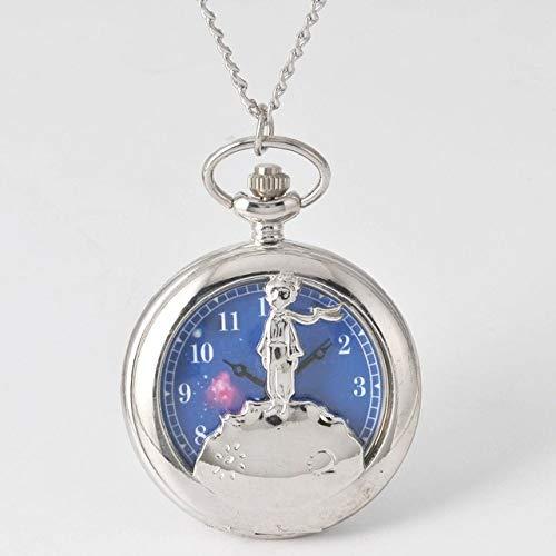 FEELHH Vintage Ketten Taschenuhr,Mode Silber Kleiner Junge Der Kleine Prinz Planet Blue Bronze Quarz Geschenke