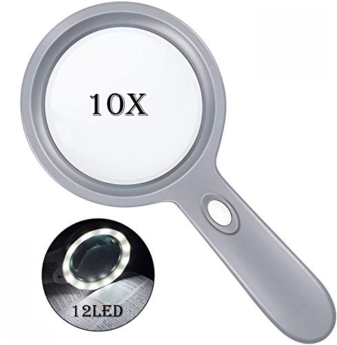 10X Handheld Magnifying Glass-Lighted Reading Magnifier with 12 LED Lights Large and Real Magnifying Lens for Macular Degeneration, Seniors Reading, Soldering, Inspection, Coins
