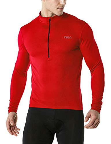 TSLA Men's Long Sleeve Bike Cycling Jersey, Quick Dry Breathable Reflective Biking Shirts with 3 Rear Pockets, Cycle Long Sleeve(mct21) - Red, X-Large