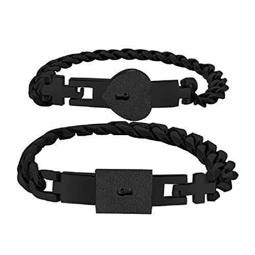 XIANGBEI Juego de 2 pulseras de acero inoxidable de tono plateado, con candado y llave