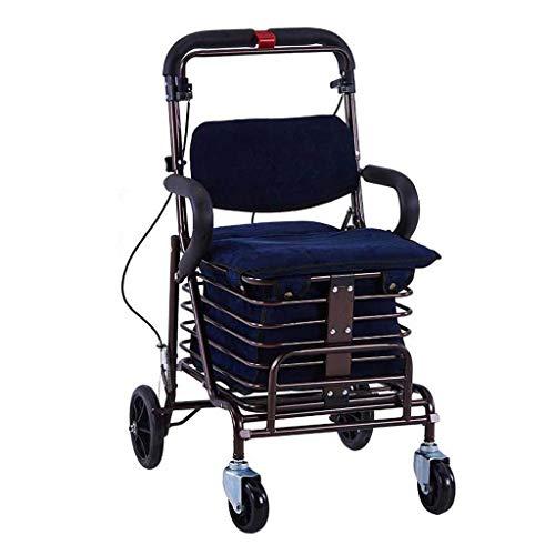 Einkaufswagen Carbon Steel Cart, Premium Klapp Einkaufswagen mit Schwenkrad und Flanell Tasche Utility Old Trolley Allrad Walker ältere Kinderwagen Leichtgewicht