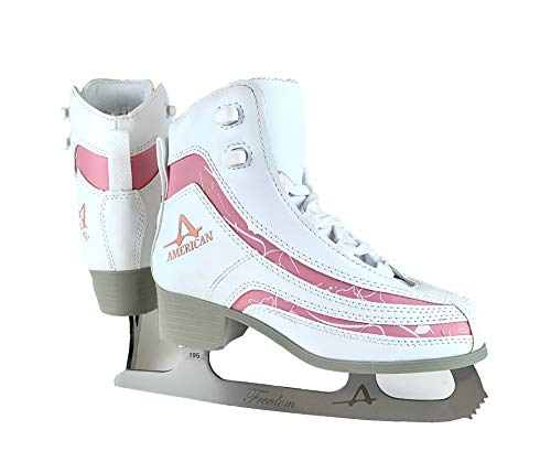 American Athletic Schuh Girl Softboot Schlittschuh, Mädchen, White with pink Trim