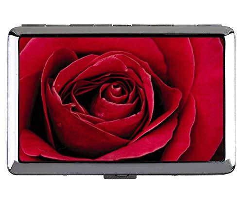 Niedlicher Edelstahl Identifikation oder Zigaretten-Kasten, rote Rosenerdroseblume berufliche Visitenkarte