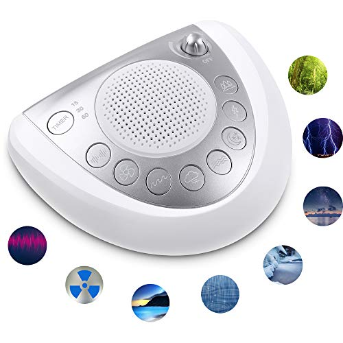 White Noise Machine, Portable Sleep Sound Machine with 8 Soothing Natural Sounds,Battery or Adapter Charge Options,Auto-Off Timer,USB Charger, Earphone Jack, Sleep Therapy Spa for Home, Office, Baby