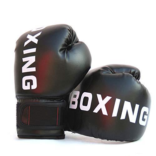 FUMEI Guantes de Boxeo para Niños para Sparring, Saco de Boxeo, Muay Thai y Kick Boxing, MMA, 6oz (Negro-02)