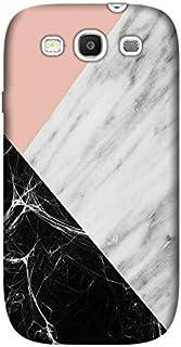 Cekuonline® Samsung Galaxy S3 i9300 Kılıf Desenli Esnek Silikon Kapak - Siyah Pembe Beyaz Mermer