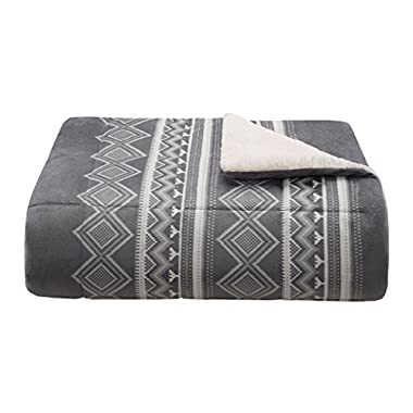 Woolrich Anderson Luxury Print Mink Down Alternative Filled Throw Grey 5070 Plaid Premium Soft Cozy Mink For Bed, Coach or Sofa