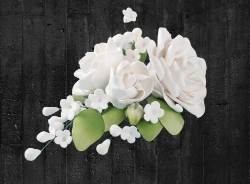 Cake Company Zuckerblumenboquet Rose 1 Stück weiß 1er Pack (1 x 109 g) | Tortendekoration zur Hochzeit und Geburtstagen