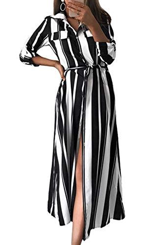 Mujer Vestido Largo De Manga Larga A Rayas Botón Abajo Casual Vestidos Camiseros Negro XL