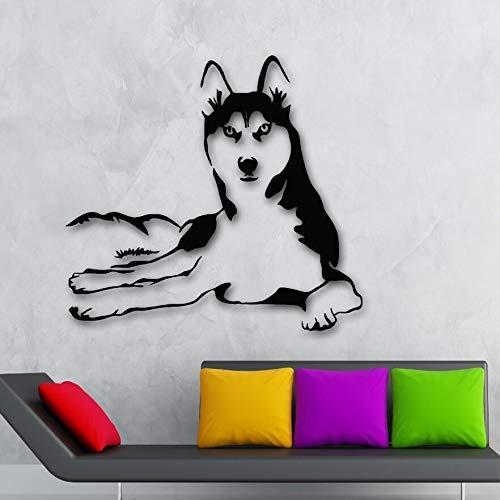 Wandaufkleber Steuern Dekoration Vinyl Husky Hund Tiere Wandtattoo Haustiere Veterinär Shop Wandbild Husky Hund Wand Poster 61 * 57 Cm