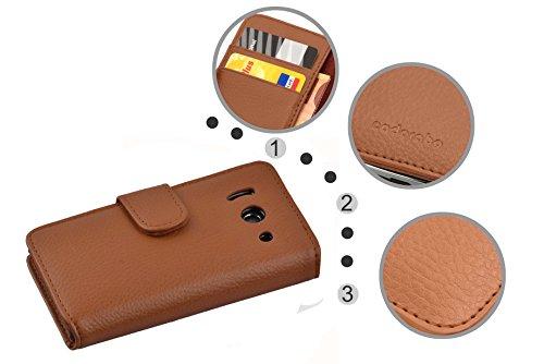 Cadorabo Hülle für Huawei Ascend Y300 - Hülle in Cognac BRAUN – Handyhülle mit Kartenfach aus struktriertem Kunstleder - Case Cover Schutzhülle Etui Tasche Book Klapp Style - 5