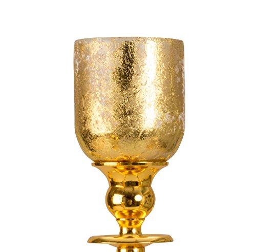 Geschenkestadl 5 x Glasaufsatz in Gold für Kerzenständer Kandelaber Windlicht Aufsatz