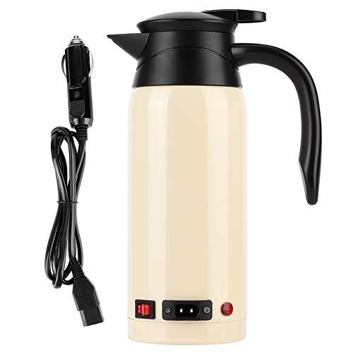 Bouilloire chauffante électrique haute capacité 800 ml, bouilloire chauffage de voiture portable en acier inoxydable, équipée d'un interrupteur intelligent,démarrage à une clé 12V-24V(Couleur crème)