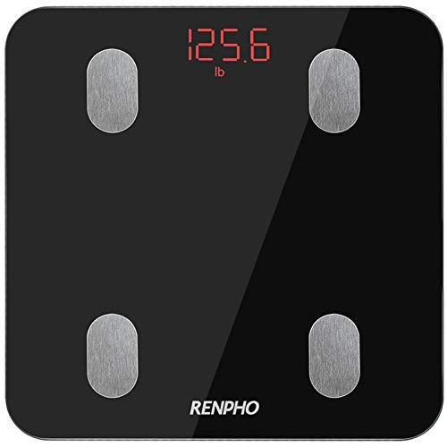 Bascula de Baño Digital Grasa Corporal, RENPHO Balanza Bluetooth Inteligente con App, Bascula Electrónica con Análisis Corporal, 13 Mediciónes de Peso IMC Visceral e Muscular, Negro
