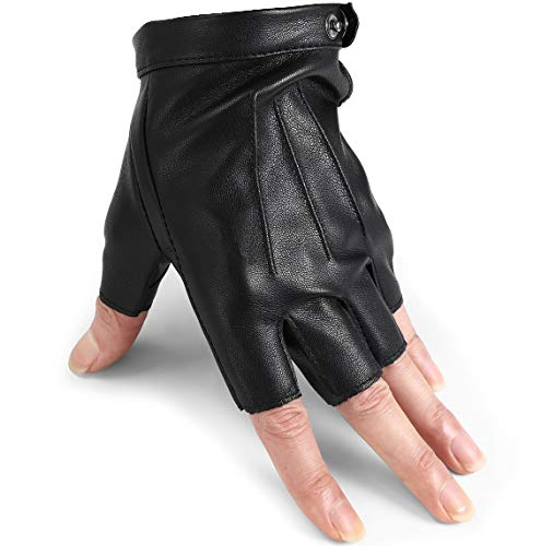 Driving Gloves Men Fingerless Leather Gloves Thin Half Finger Black Glove(PU/L)