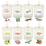 4 Popular Fragances, Scented candles gift set with 4 pack, which includes 4 Fragrances, Lavender, Lemon, Fig, Spring. Soy Wax, Made from soy wax and strong cotton wick, longer lasting. Long Lasting, 4.4oz each candle lasts approximately 25 to 30 hour...