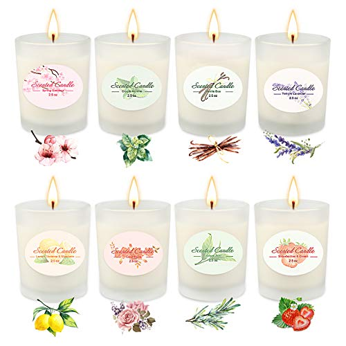 Candles ,Christmas Gifts For Women , 8 Scented Candles Gifts Set - Aromatherapy Candles for Home, Relaxing Stress Relief Spa- Natural Soy Wax and Fragrance - Gifts for Mom, Best Friend, Wife, Birthday
