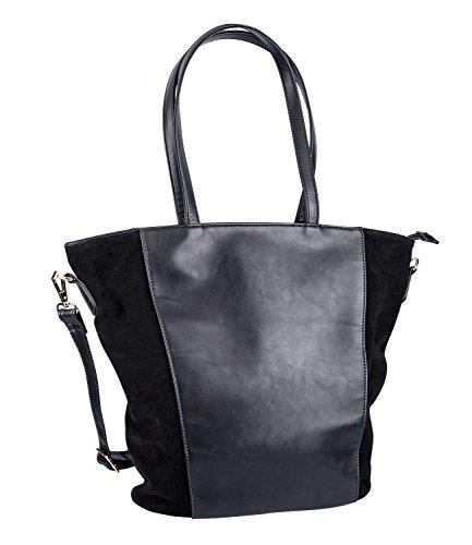 SIX Mittelgroße Stabile Etui Handtasche in Schwarz mit goldenem Reißverschluß (726-481)