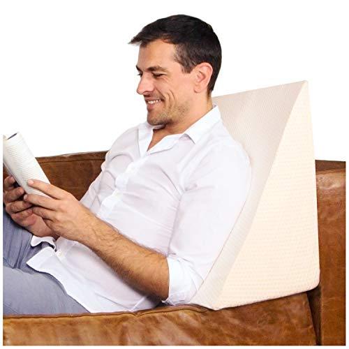 Purovi® Cojín con Forma de Cuña para Cama y Sofá Sujeción de Espalda | Almohada de Lectura | 30 x 50 x 60 cm