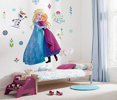 Disney selbstklebende und konturgeschnittene Vlies Fototapete von Komar - Frozen Nordix Summer XXL - Größe: 127 x 200 cm - Wandtattoo, Kinderzimmer, Mädchenzimmer, Lebensgross