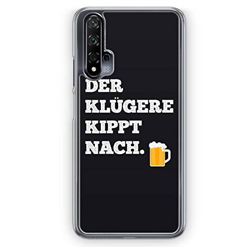 Der Klügere Kippt Nach. Bier - Hülle für Huawei Nova 5T - Motiv Design Spruch Lustig Cool Witzig - Cover Hardcase Handyhülle Schutzhülle Hülle Schale