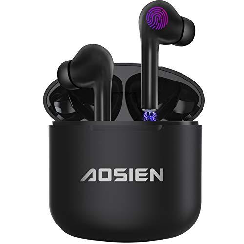 Bluetooth Kopfhörer Aoslen Kabellos Kopfhörer In Ear Earbuds Bluetooth 5.0 Headset Touch Control True Wireless Ohrhörer mit HD Mikrofon und Tragbare Ladehülle für Sport/Laufen - Schwarz