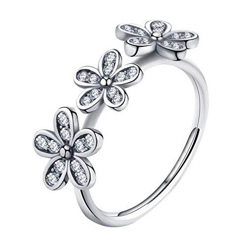 Anillo de circonita con incrustaciones de grupo de margaritas anillo simple para mujer eterna silvestre anillo de hombres de talla 6 a 10