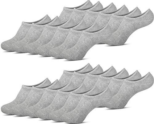MC.TAM® Unsichtbare Sneaker Socken Herren Damen 12 Paar Antirutsch Baumwolle (Oeko-Tex® Standard 100), 35-38, 12x Hellgrau US