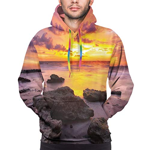 Men's Hoodies 3D Print Pullover Sweatershirt,Sunset at The Beach Horizon On Island Magical Idyllic Weather Landscape,XXL