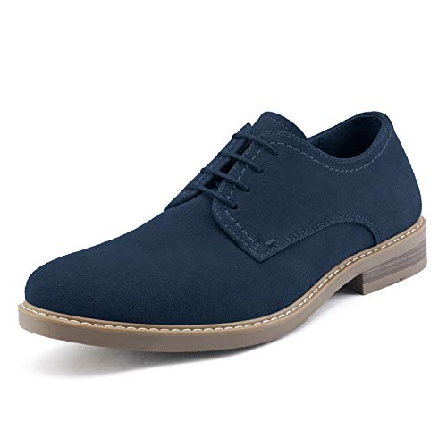 Bruno Marc Men's Navy Lace up Suede Oxford Shoes Classic Round Toe Casual Dress Shoe LG19001M Size 12 M US