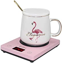 Coffee Mug Warmer with Auto Shut On/Off after 4 hours Beverage Warmers Plate Smart Cup Warmer Pad For Desk Office and Home Office Use (Up to 104°F 40°C / 131°F 55°C / 149°F 65°C)with Three Temperature Settings(Pink)