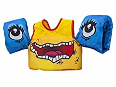 "PADDLE PALS – Safest Patented U. S. Coast Guard Approved ""Learn to Swim"" life jacket with attached arm bands for teaching kids to safely learn to swim SAFETY SHOULDER HARNESS – Prevents children from removing the vest without parental help and keeps ..."