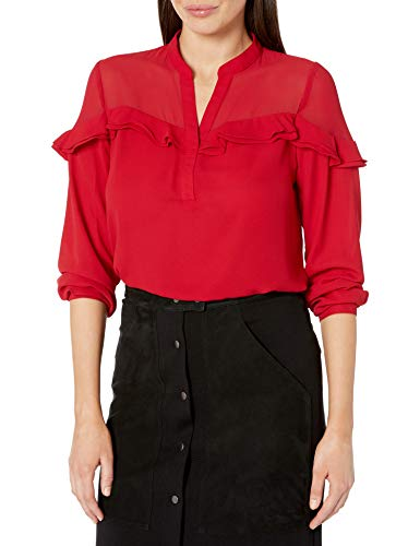 NY Collection Women's Long Sleeve Mandarin Collar Blouse with Double Layer Ruffles, Scarlet Mixcombo, S