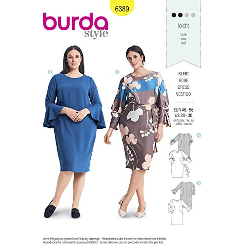 Burda 6389 Schnittmuster Blusenkleider (Damen, Gr. 46-56) Level 2 leicht