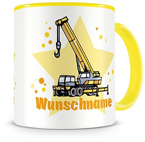 Samunshi® Kindertasse mit Namen Tasse Kran LKW Personalisierte Tasse mit Namen Kinder Kinderbecher mit Namen Kindergarten gelb 300ml