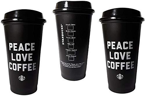 Starbucks Peace Love Coffee Negro Reutilizable Grande 16 oz taza con tapas