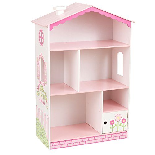 KidKraft Dollhouse Cottage Bookcase Wooden Children's Furniture with Shelves and Hidden Storage, 15.15' x 11.42' x 25.98', Multicolor, Model:14604